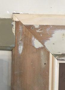 Detail view of door jamb and trim repair. Enfield Shaker preservation