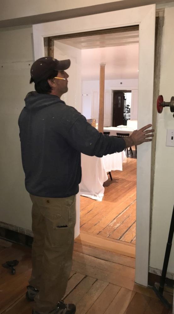 Enfield Shaker preservation dining room door trim installation