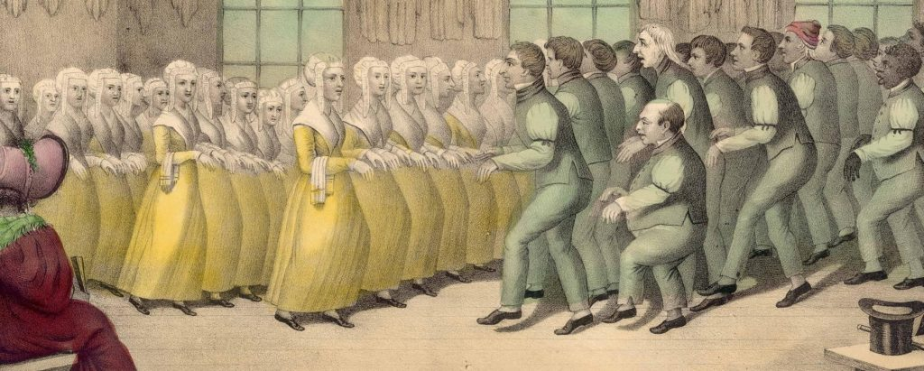 SHAKERS, their mode of Worship, a lithograph circa 1835