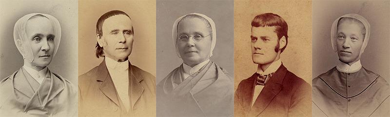 Enfield Shaker Genealogy Banner: Sister Mary Ann Joslin, Elder Timothy Randlett, Sister Ann Cummings, Brother George Baxter, and Sister Nancy Ann Morse