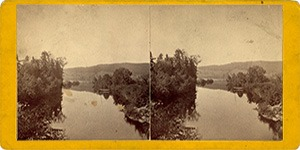 Stereoview of Enfield, NY Shaker Village - Entrance to Mascoma Lake.