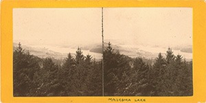 Stereoview of Enfield, NH Shaker Village - Mascoma Lake, with Shaker Village in the distance.