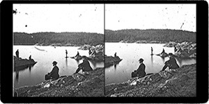 Stereoview of Enfield, NH Shaker Village - Smith Pond.