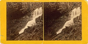 Stereoview of Enfield, NH Shaker Village - Fall and Cave on Shaker Mountain.