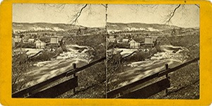 Stereoview of Enfield, NH Shaker Village - Mascoma River and the Enfield Tannery