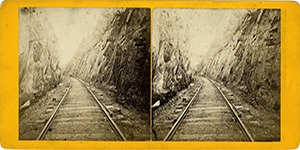 Stereoview of Enfield, NH Shaker Village - Shaker Ledge at the Railroad Cut.