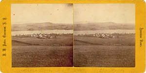 Stereoview of Enfield, NH Shaker Village - Church Family and Mascoma Lake.