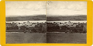 Stereoview of Enfield, NH Shaker Village - Church Family from the Mountain.