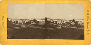 Stereoview of Enfield, NH Shaker Village - South Family from the Mountain.