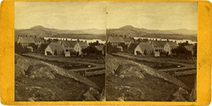Stereoview of Enfield, NH Shaker Village - Looking Southeast to the South Family.