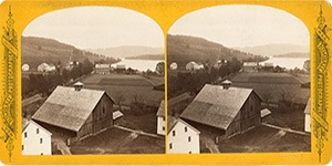 Stereoview at Enfield, NH Shaker Village - Looking north west, North Family in the distance.