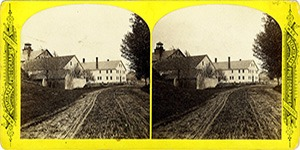Stereoview at Enfield, NH Shaker Village - Approach to the Church Family from the Avenue of Maples