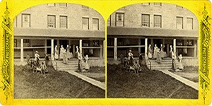Stereoview at Enfield, NH Shaker Village - Veranda of the Stone Dwelling House.