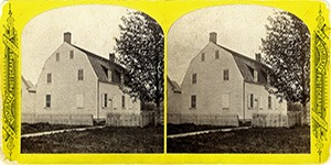 Stereoview at Enfield, NH Shaker Village - Old Church built 1793.