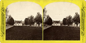 Stereoview at Enfield, NH Shaker Village - Old Church and School House.