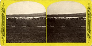Stereoview at Enfield, NH Shaker Village - Distant View of Church Family, buildings, and Mascoma Lake, from Mountain.