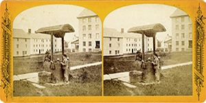 Stereoview at Enfield, NH Shaker Village - Boys Drinking at a Well in Church door yard.