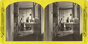 Stereoview at Enfield, NH Shaker Village - Kitchen in Stone Dwelling House.
