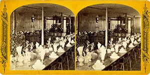 Stereoview at Enfield, NH Shaker Village - Dining Hall in Stone Dwelling House.