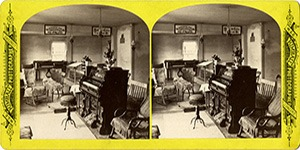Stereoview at Enfield, NH Shaker Village - Music Room.