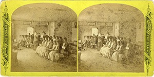 Stereoview at Enfield, NH Shaker Village - Children at Music Lessons.
