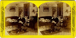 Stereoview at Enfield, NH Shaker Village - Lower West Room, Ministry's Dwelling.