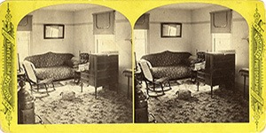 Stereoview at Enfield, NH Shaker Village - Upper West Room, Ministry's Dwelling