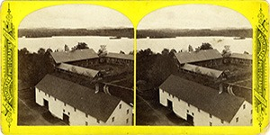 Stereoview at Enfield, NH Shaker Village - Looking north east, Barn, and Lake beyond.