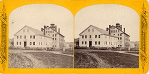 Stereoview at Enfield, NH Shaker Village - Church Family Office, Stone Dwelling House, etc.