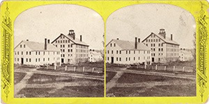 Stereoview at Enfield, NH Shaker Village - Church Family Office, Stone Dwelling House, and Second House