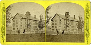 Stereoview at Enfield, NH Shaker Village - Stone Dwelling House