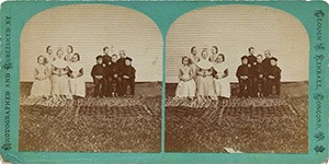 Stereoview of Canterbury, NH Shaker Village - Group of Boys and Girls.