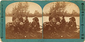 Stereoview of Canterbury, NH Shaker Village - Group of Boys at the Pond.