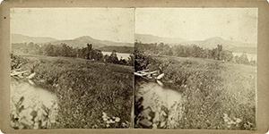 Stereoview of Enfield, NH Shaker Village - Looking east from Smith Pond, Mascoma Lake in the distance.