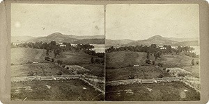 Stereoview of Enfield, NH Shaker Village - Looking northeast, Great Stone Dwelling in the distance.