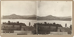 Stereoview of Enfield, NH Shaker Village - Looking East, garden and Mascoma Lake in the foreground.