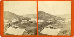 Stereoview of Enfield, NH Shaker Village - Looking north to North Family.
