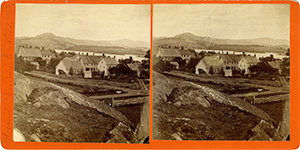 Stereoview of Enfield, NH Shaker Village - Looking east, South Family buildings in the foreground.