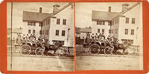 Stereoview of Enfield, NH Shaker Village - Shakers boarding wagon at the South Family Dwelling House.