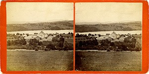 Stereoview of Enfield, NH Shaker Village - Looking east to the Church Family.