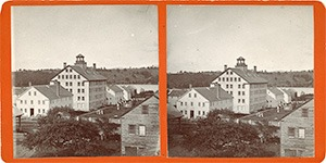 Stereoview of Enfield, NH Shaker Village - Looking northeast to the Church Family.