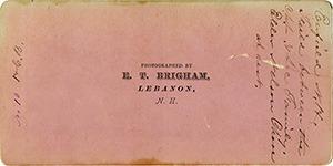 Reverse Side of Stereoviews in this Brigham series on orange cardstock.