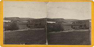 Stereoview of Enfield, NH Shaker Village - Looking east, South Family in the distance.