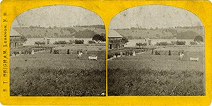 Stereoview of Enfield, NH Shaker Village - Church Family Garden and Lake Mascoma.