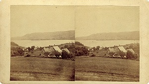 Stereoview of Enfield, NH Shaker Village - Shaker Village in the distance.