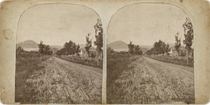 Stereoview of Enfield, NH Shaker Village - Looking north to the Church Family.