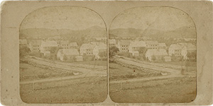 Stereoview of Enfield, NH Shaker Village - Looking northeast, South Family buildings in the foreground.
