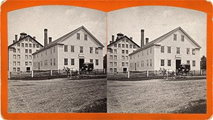Stereoview of Enfield, NH Shaker Village - Office and Stone Dwelling House.