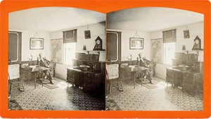 Stereoview of Enfield, NH Shaker Village - Lower West Room, Ministry's Dwelling.