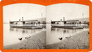 Stereoview of Enfield, NH Shaker Village - Steamboat Helena.